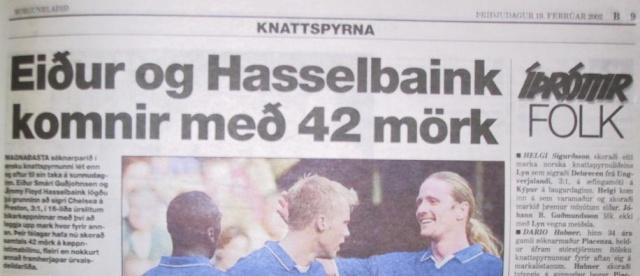 Eiður Smári and Jimmy Floyd Hasselbaink doing great things for Chelsea.