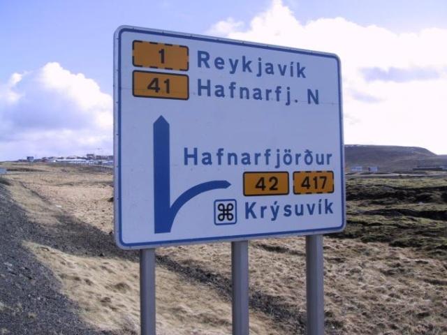 Highway Sign near Reykjavik the capital