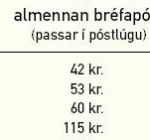 Mailing a 0-20gr letter in Iceland costs 42 icelandic krónur.