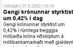 News about the icelandic krona on the news web mbl.is