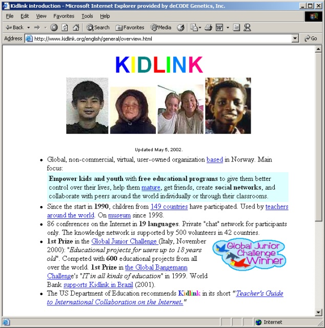 The number of countries that are involved in the work of Kidlink in June 2002.