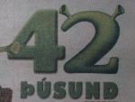 42000 have seen Shrek 2 in Iceland (ad from Morgunblaðið Aug. 7. 2004)