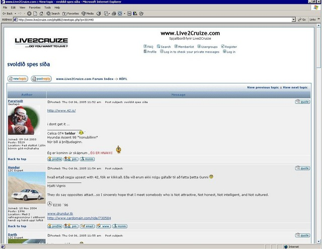 42.is gets some publicity on the live2cruize.com forum where some people don't seem to grasp the concept. ;-)