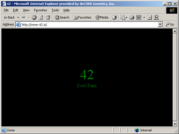 42.is viewed in Internet Explorer (first version of page).