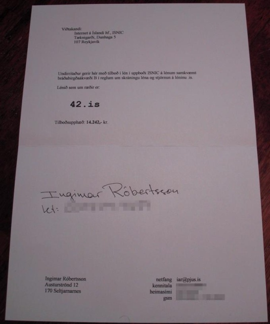 The initial bid document that later secured us the immortal 42.is domain name.